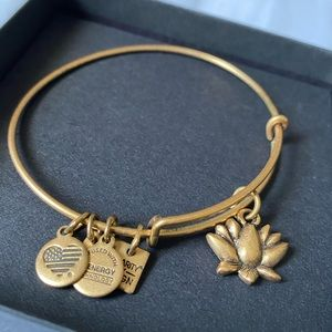 Alex and Ani Lotus Flower Gold Bangle Bracelet